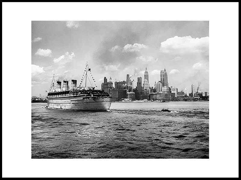 Queen Mary, Guided In By A Harbour Pilot